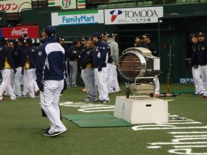 A critical piece of equipment on a frigid day at Seibu Prince Dome... a space heater.
